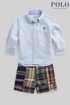 Ralph Lauren Blue Shirt And Check Shorts Set