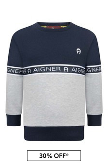 Boys Grey Cotton Logo Sweater