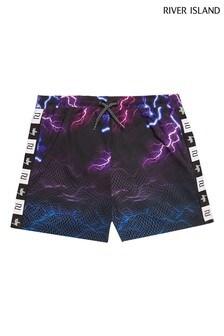 River Island Black Hype Lightning Shorts