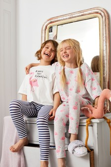 Grey/Pink/White 2 Pack Appliqué Flamingo Legging Pyjamas (3-16yrs)