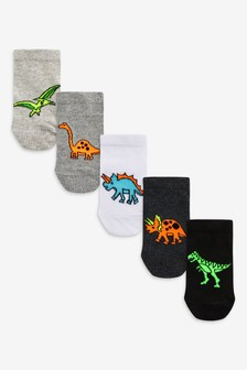 Mono 5 Pack Cotton Rich Dinosaur Trainer Socks (Younger)