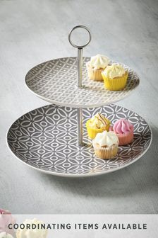 Geo Embossed 2 Tier Cake Stand
