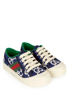 GUCCI Kids Kids Blue Cotton Trainers