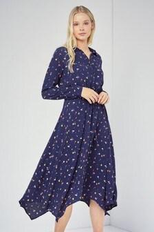 Blue Floral Print Midi Shirt Dress