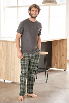 Grey/Khaki Check Woven Pyjama Set
