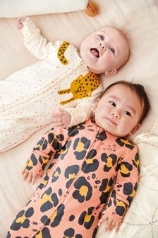 Ochre 2 Pack Leopard Zip Sleepsuits (0mths-2yrs)