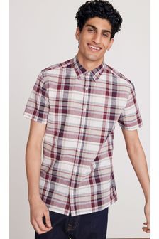 Burgundy Regular Fit Short Sleeve Madras Check Shirt