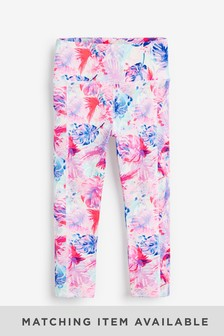 Pink Palm Print Sports Leggings (3-16yrs)