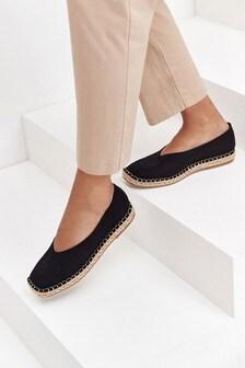 Black Square Toe Espadrille Shoes
