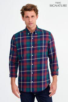 Burgundy Roll Sleeve Pima Cotton Check Shirt