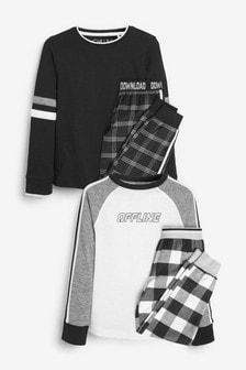 Monochrome 2 Pack Check Pyjamas (3-16yrs)