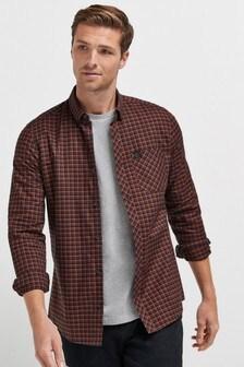 Orange Slim Fit Long Sleeve Check Stretch Oxford Shirt