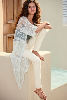 White Longline Lace Kimono