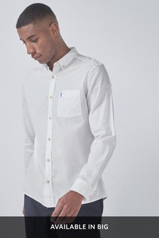 White Slim Fit Slim Fit Roll Sleeve Lightweight Twill Shirt