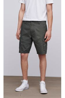 Khaki Straight Fit Cotton Cargo Shorts