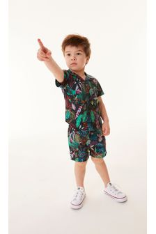 Black Jungle Print Shirt & Short Set Cotton Short Sleeve (3mths-7yrs)