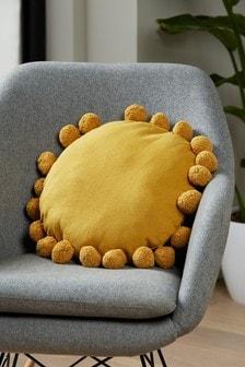 Pom Pom Edge Circle Cushion