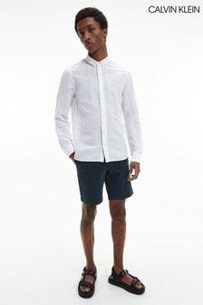 Calvin Klein White Slim Fit Linen Cotton Shirt