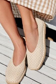 Camel Square Toe Espadrille Shoes