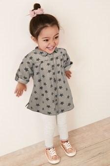 Grey Star Print Denim Shirt Dress (3mths-7yrs)