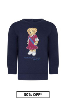 Baby Girls Navy Cotton Sweat Top