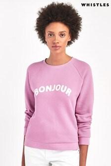 Whistles Pink Bonjour Logo Sweatshirt