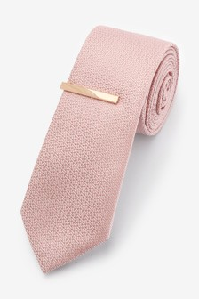 Pink Slim Textured Tie With Tie Clip