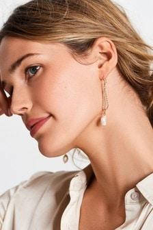 Gold Tone Freshwater Pearl Drop Earrings