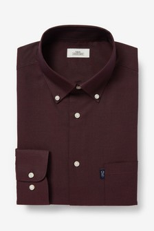 Burgundy Slim Fit Single Cuff Easy Iron Button Down Oxford Shirt
