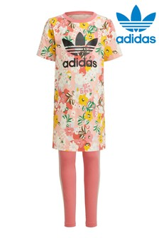 adidas Originals Little Kids Floral Dress And Leggings Set