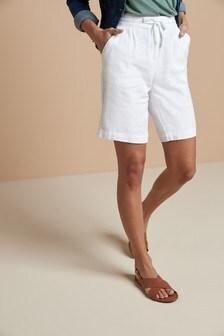White Linen Blend Knee Shorts