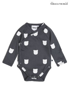 Tobias & The Bear Grey Charcoal Bear Organic Cotton Kimono