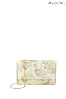 Accessorize Cream Bridal Jasmine Floral Beaded Clutch
