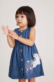 Mid Wash Unicorn Denim Dress (3mths-7yrs)