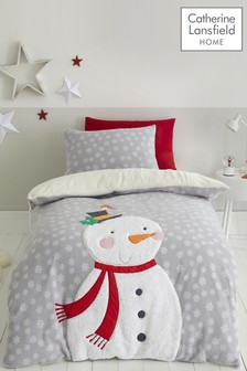 Catherine Lansfield Christmas Cosy Snowman Duvet Cover and Pillowcase Set