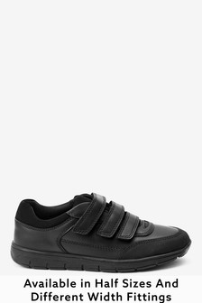 Black Extra wide (H) Thinsulate™ Lined Leather Strap Touch Fasten Shoes