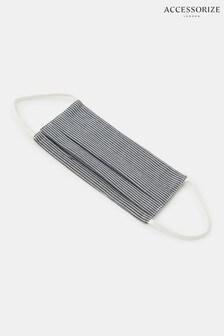 Accessorize Stripe Face Covering In Pure Cotton