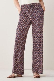 Geo Paisley Print Wide Leg Jersey Trousers