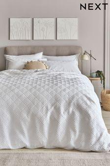 White Embossed Geometric Duvet Cover And Pillowcase Set