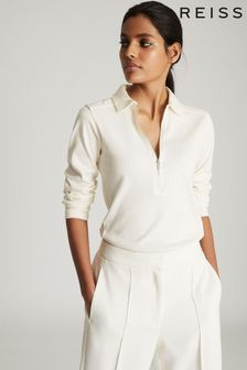 Reiss White Fernanda Zip Neck Poloshirt