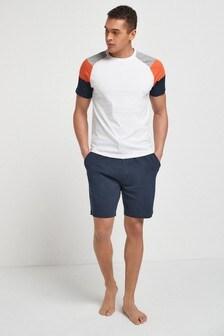 White/Navy Raglan Pyjamas Set