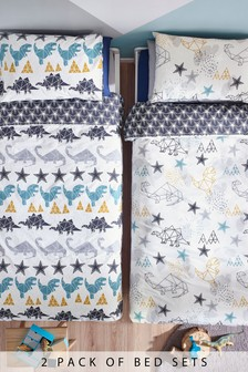 2 Pack Origami Dinosaur Duvet Cover And Pillowcase Set
