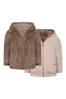 Girls Pink And Faux Fur Reversible Jacket
