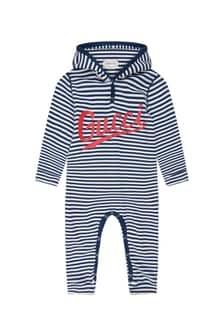 Baby Boys Navy Cotton Logo Striped Hooded Babygrow