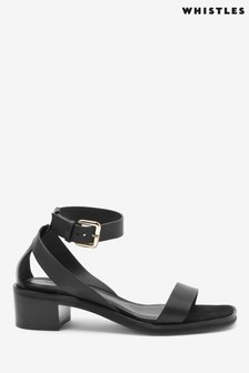 Whistles Black Campbell Slotted Mid Block Sandals