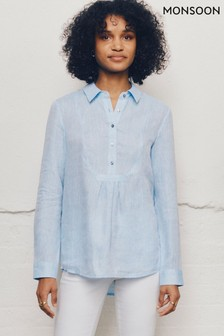 Monsoon Blue Dobby Shirt In Pure Linen