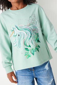 Mint Pretty Unicorn Long Sleeve T-Shirt (3-16yrs)