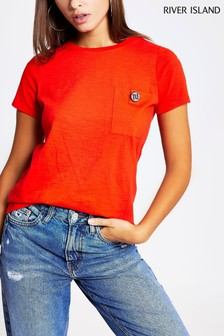 River Island Red Diamanté Button Pocket T-Shirt