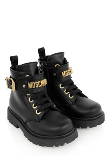 Girls Black Leather Logo Ankle Boots
