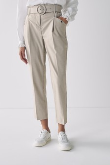 Neutral Check Belted Straight Trousers